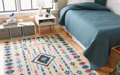Brightly cleaned area rug in dorm room