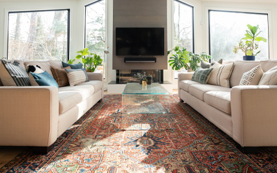 Delicate persian rug centerpiece of well lit contemporary living room