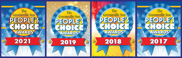 Banner graphic showing People's Choice awards for Best Carpet Cleaner in Greeneville in 2021, 2019, 2018, 2017