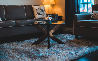 Steam cleaned area rug in a cozy dim lit living room